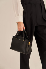 Oroton Atlas Small Day Bag in Black and Pebble Leather for female