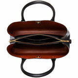 Oroton Muse Three Pocket Day Bag in Black and Two Tone Saffiano Leather / for female