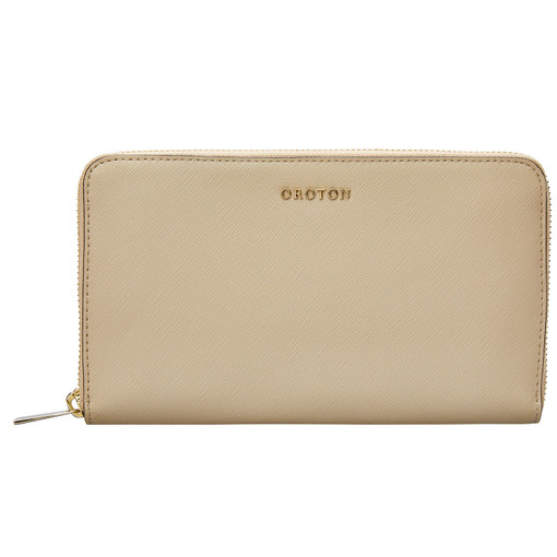 Oroton Maison Large Zip Around Wallet in Fawn and Saffiano for female