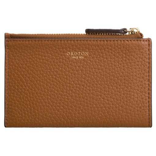 Oroton Avalon Mini 4 Credit Card Zip Pouch in Cognac and Pebble Leather for female