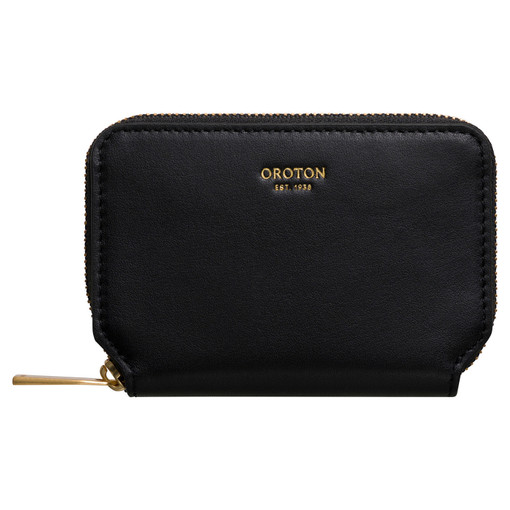 Oroton Elsa Mini 7 Credit Card Zip Wallet in Black and Smooth Leather for female