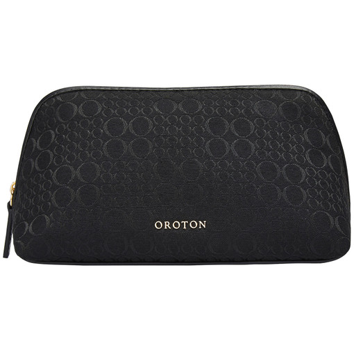 Oroton Signet Large Beauty Case in Black and Jacquard Fabric / Vachetta Leather for female