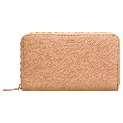 Oroton Capri Large Multi Pocket Zip Around Wallet in Caramel and Pebble Leather for female