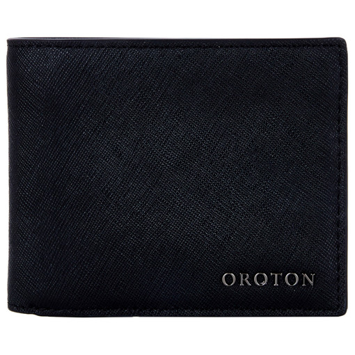 Oroton Bristol 8 Credit Card Wallet in Black and Saffiano Leather for male