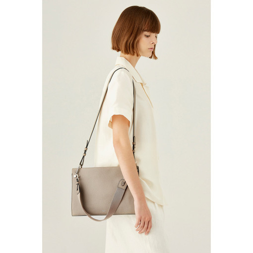 Oroton Villa Small Day Bag in Stone and Pebble Leather for female