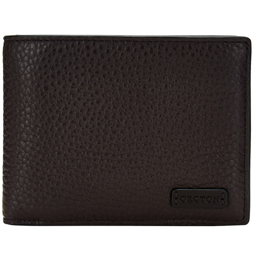 Oroton Preston 12 Credit Card Wallet in Chocolate and Pebble Leather for male
