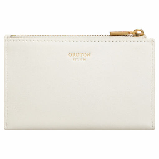 Oroton Hazel 4 Credit Card Mini Zip Wallet in Cream and Smooth Leather for female