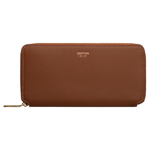 Oroton Margot Medium Zip Wallet in Whiskey and Pebble Leather for female