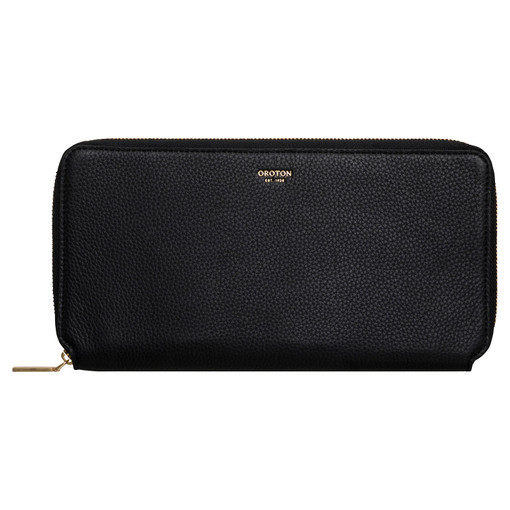 Oroton Margot Travel Wallet in Black and Pebble Leather for female