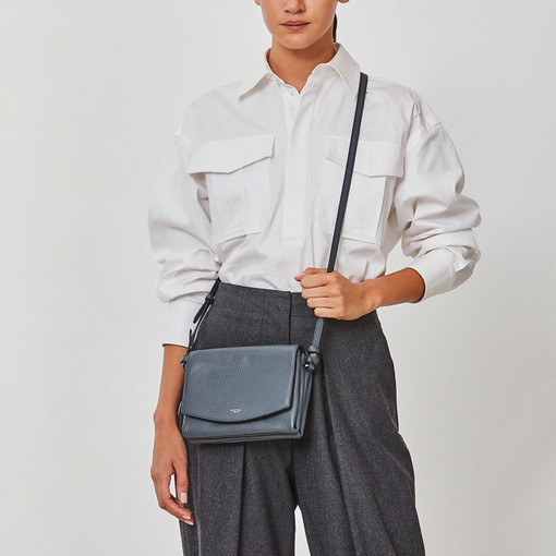Oroton Atlas Crossbody in Charcoal and Pebble Leather for female