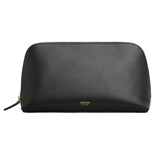 Oroton Venture Large Beauty Case in Black and Smooth Leather for female