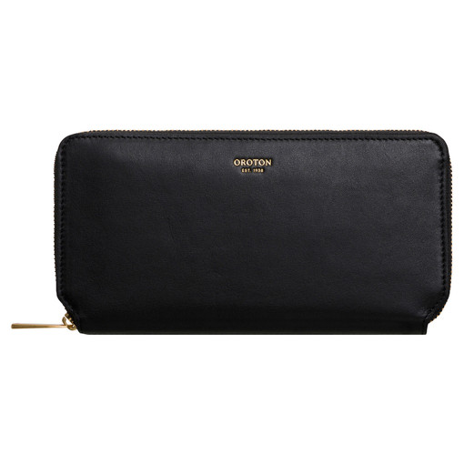 Oroton Elsa Medium Zip Wallet in Black and Smooth Leather for female