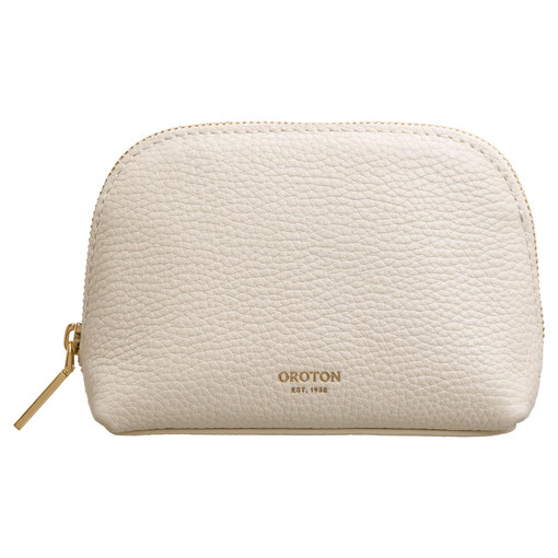 Oroton Capri Small Beauty Case in Cream and Pebble Leather for female