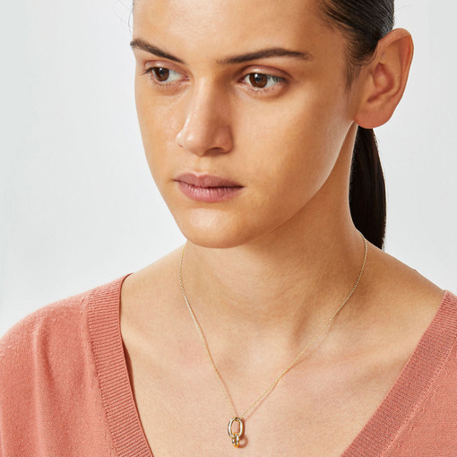 Oroton Icon O Link Necklace in Shiny Gold and Brass Base Metal With Precious Metal Plating for female