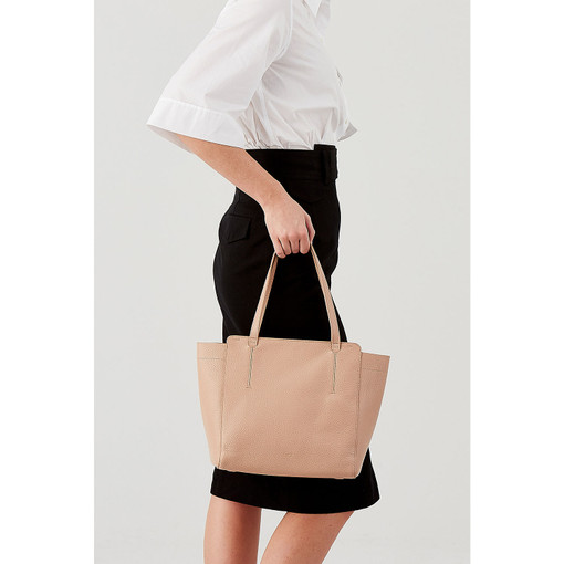 Oroton Avalon Mini Tote in Biscuit and Pebble grain leather for female