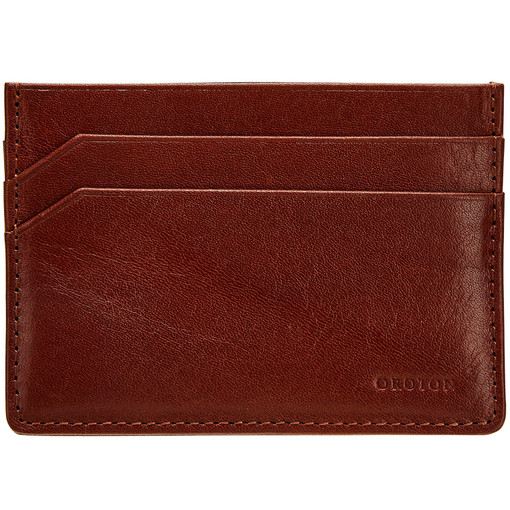 Oroton Katoomba Credit Card Sleeve in Whiskey and Vegetable Tanned Leather for male