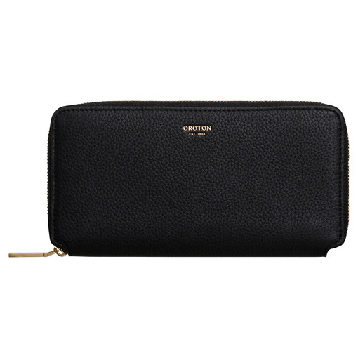 Oroton Margot Medium Zip Wallet in Black and Pebble Leather for female