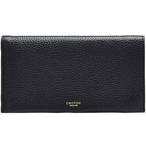 Oroton Avalon Soft Fold Wallet in Black and Pebble Leather for female
