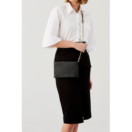 Oroton Avalon Fold Over Crossbody in Black and Pebble Leather for female