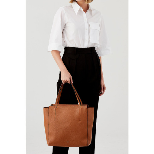Oroton Avalon Tote in Cognac and Pebble Leather for female