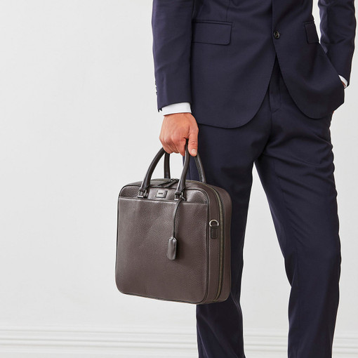 Oroton Preston Griptop in Chocolate and Pebble Leather for male