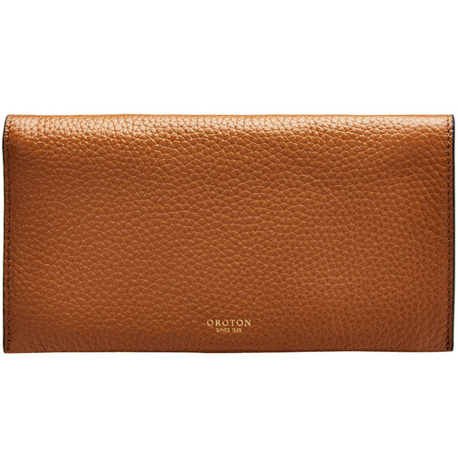 Oroton Avalon Soft Fold Wallet in Cognac and Pebble Leather for female