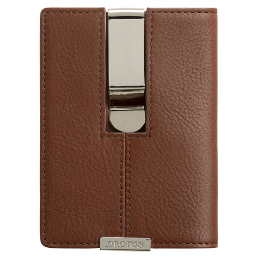 Oroton Austere Money Clip Wallet in Chocolate and Chocolate Leather for male