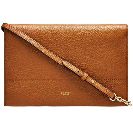 Oroton Avalon Fold Over Crossbody in Cognac and Pebble Leather for female