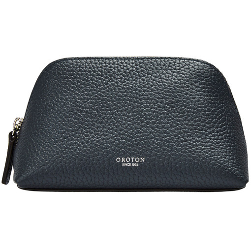 Oroton Avalon Small Beauty Case in Charcoal and Pebble Leather for female