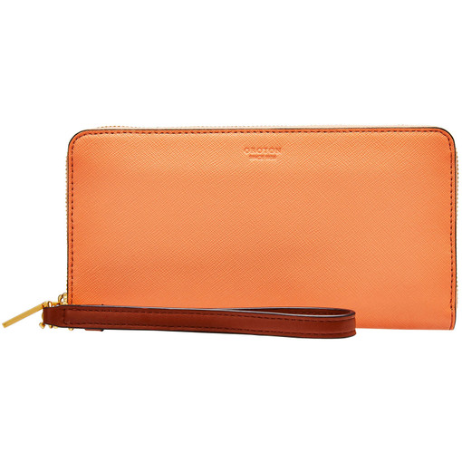 Oroton Liberty Slim Zip Around Wallet in Sherbert and Saffiano Leather/ Vachetta for female