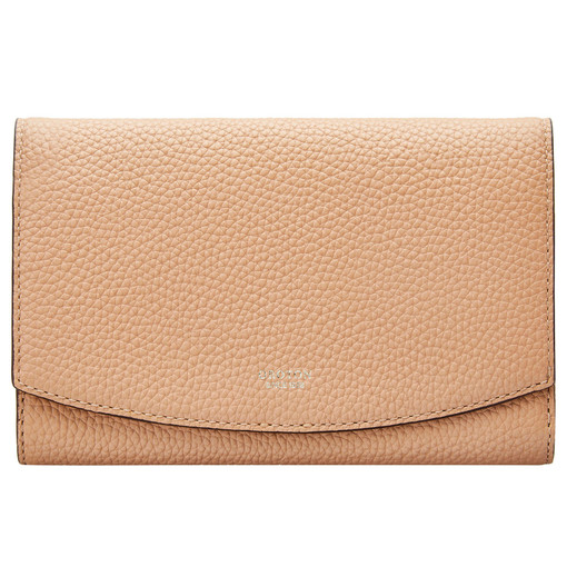 Oroton Atlas Soft Fold Zip Wallet in Biscuit and Pebble Leather for female