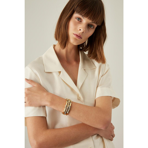 Oroton Bamboo 3 Layer Cuff in Gold and Brass Base With Precious Metal Plating for female