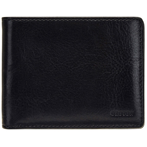 Oroton Katoomba 8 Credit Card Wallet in Black and Vegetable Tanned Leather for male