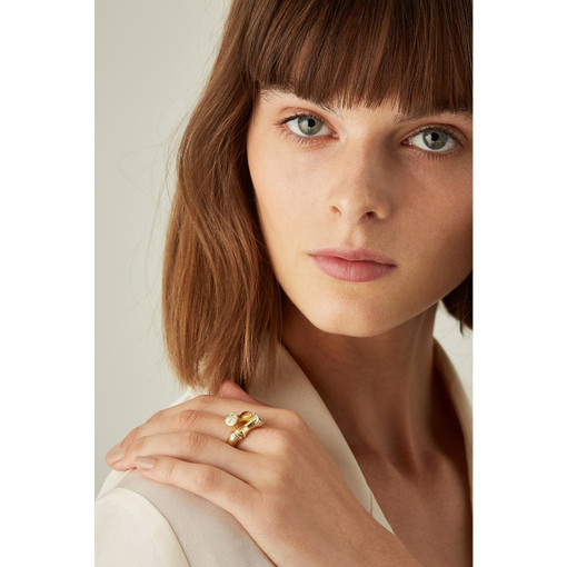 Oroton Bamboo Twist Ring in Gold and Brass Base With Precious Metal Plating for female