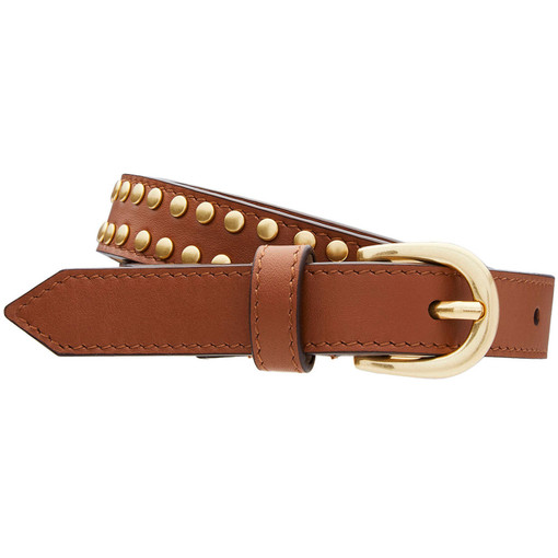 Oroton Solo Stud Belt in Whiskey and Smooth Leather for female
