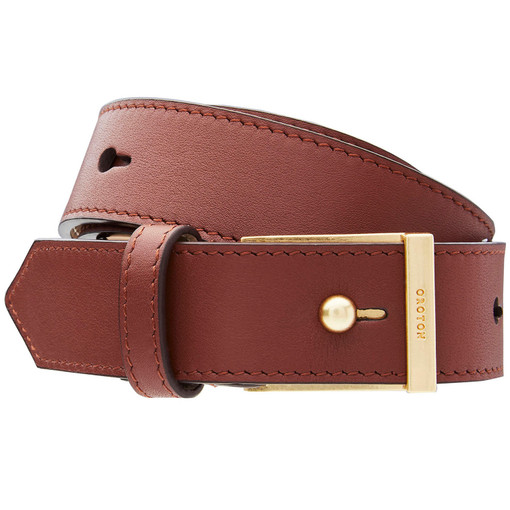 Oroton Atlas Belt in Mahogany and Smooth Leather for female
