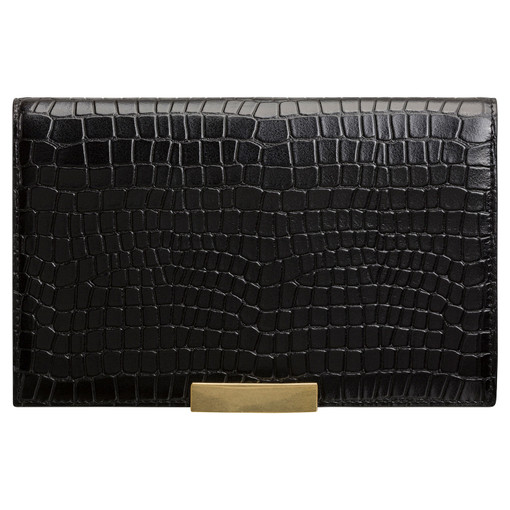 Oroton Voyage Texture Large Clutch Wallet in Black and Croco Emboss Leather for female