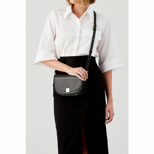 Oroton Voyage Texture Mini Saddle Bag in Black and Croco Emboss Leather for female