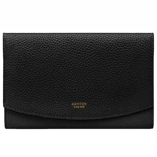 Oroton Atlas Soft Fold Zip Wallet in Black and Pebble Leather for female