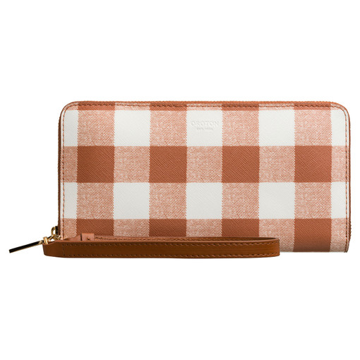 Oroton Liberty Print Slim Zip Around Wallet in Cognac and Outer: 100% PVC, Inner: 100% Saffiano Leather for female