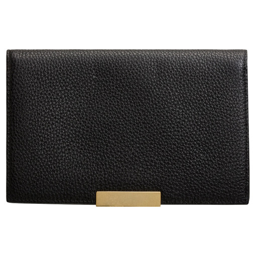Oroton Voyage Large Clutch Wallet in Black and Pebble Leather for female