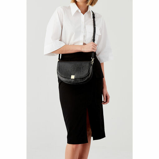 Oroton Voyage Texture Saddle Bag in Black and Croco Emboss Leather for female