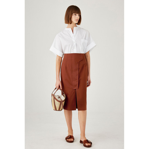 Oroton Cotton-Linen High Waisted Utility Pencil Skirt in Dark Rust and 60% Cotton 40% Linen for female