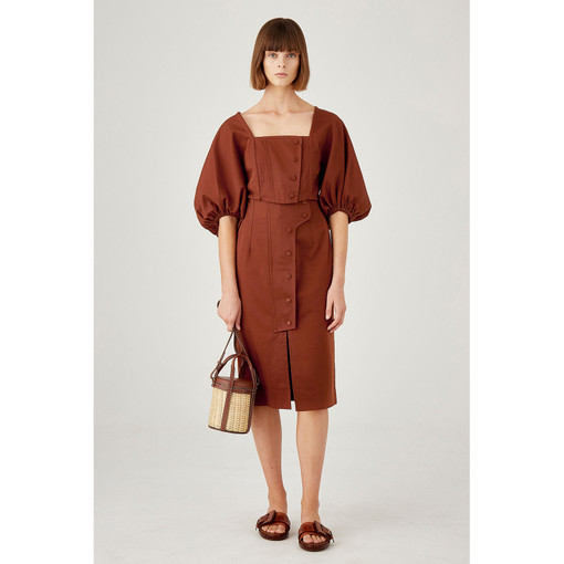 Oroton Cotton-Linen Full Sleeve Cropped Bodice Top in Dark Rust and 60% Cotton 40% Linen for female