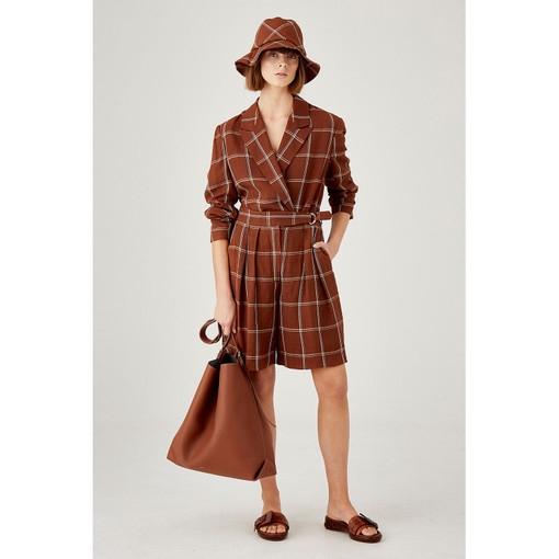 Oroton High Waisted Check Bermuda Short in Dark Rust and 71% Viscose 29% Linen for female
