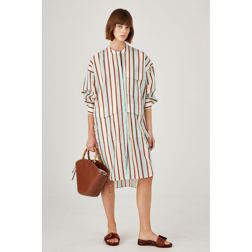 Oroton Cotton Striped Long Sleeve Shirt Dress in Mint and 100% Cotton for female