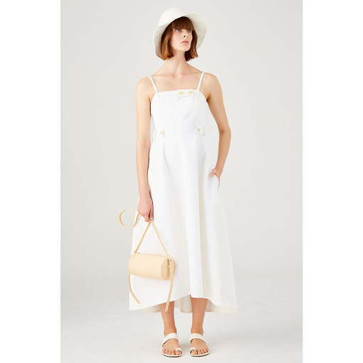 Oroton Cotton-Linen Bodice Detailed Sundress in White and 57% Cotton 43% Linen for female