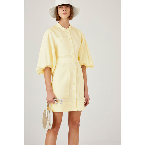 Oroton Cotton-Linen Full Sleeve Dress in Sorbet and 70% Cotton 40% Linen for female