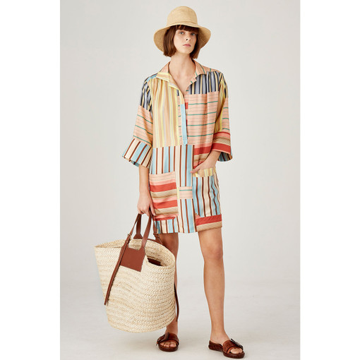 Oroton Silk Patchwork Print Dress in Multi Print and 100% Silk for female