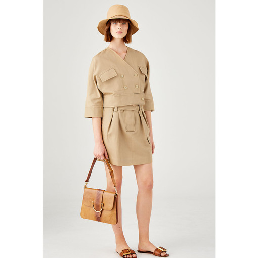 Oroton Cotton-Linen Paperbag Waist Skirt in Pecan and 57% Cotton 43% Linen for female